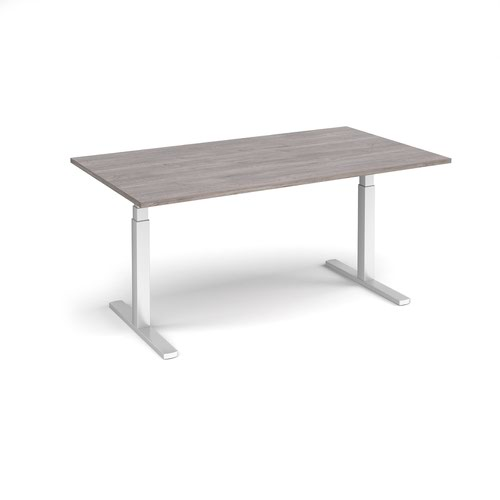 Elev8 Touch boardroom table 1800mm x 1000mm - silver frame and grey oak top