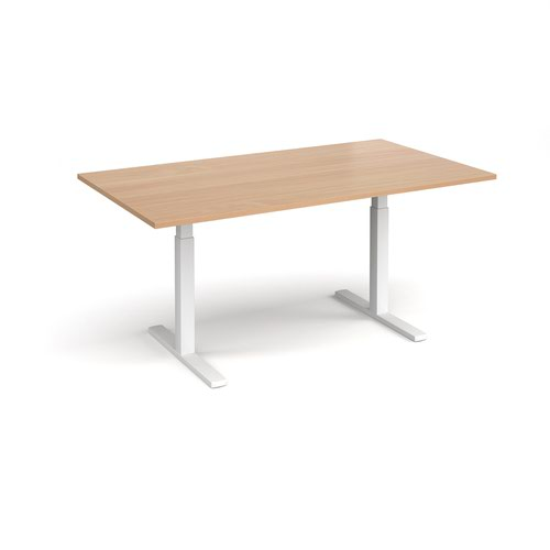 Elev8 Touch boardroom table 1800mm x 1000mm - white frame and beech top