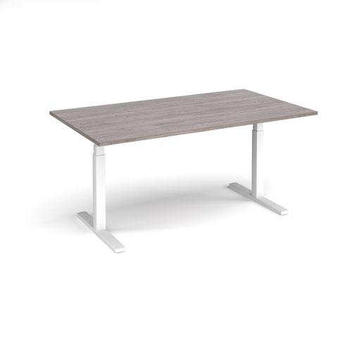 Elev8 Touch boardroom table 1800mm x 1000mm - white frame and grey oak top