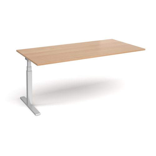 Elev8 Touch boardroom table add on unit 2000mm x 1000mm - silver frame and beech top