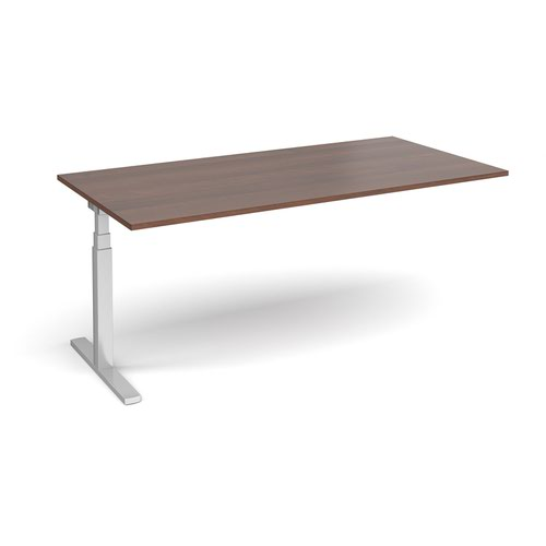 Elev8 Touch boardroom table add on unit 2000mm x 1000mm - silver frame and walnut top