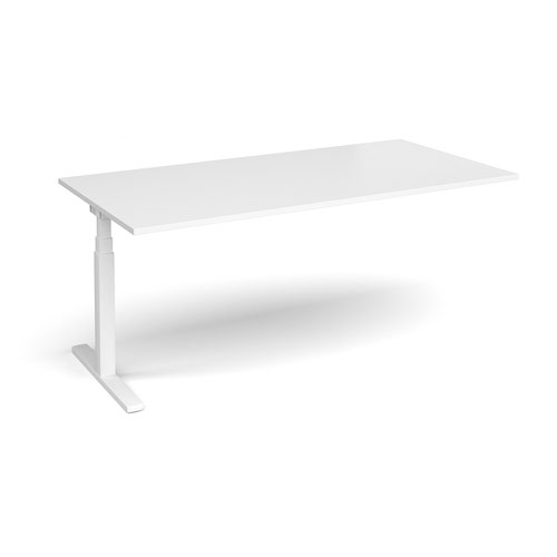 Elev8 Touch boardroom table add on unit 2000mm x 1000mm - white frame and white top