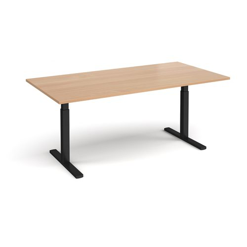 Elev8 Touch boardroom table 2000mm x 1000mm - black frame and beech top