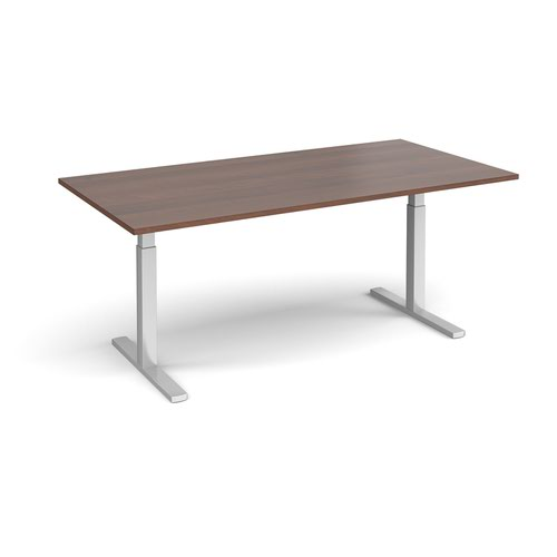 Elev8 Touch boardroom table 2000mm x 1000mm - silver frame and walnut top