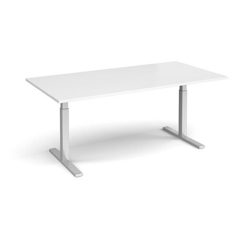 Elev8 Touch boardroom table 2000mm x 1000mm - silver frame and white top