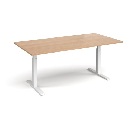 Elev8 Touch boardroom table 2000mm x 1000mm - white frame and beech top