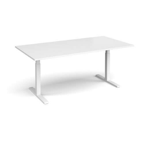 Elev8 Touch boardroom table 2000mm x 1000mm - white frame and white top