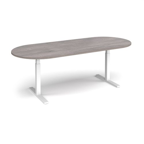 Elev8 Touch radial end boardroom table 2400mm x 1000mm - white frame and grey oak top