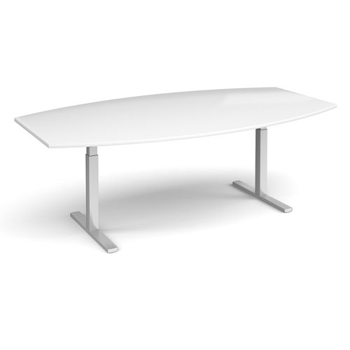 Elev8 Touch radial boardroom table 2400mm x 800/1300mm - silver frame and white top