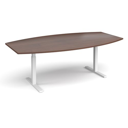 Elev8 Touch radial boardroom table 2400mm x 800/1300mm - white frame and walnut top