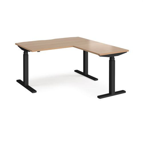 Elev8 Touch sit-stand desk 1400mm x 800mm with 800mm return desk - black frame and beech top
