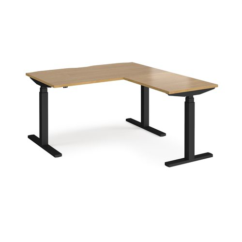 Elev8 Touch sit-stand desk 1400mm x 800mm with 800mm return desk - black frame and oak top