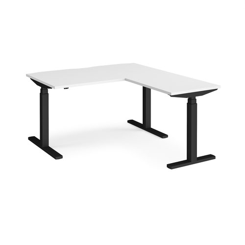 Elev8 Touch sit-stand desk 1400mm x 800mm with 800mm return desk - black frame and white top