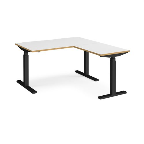 Elev8 Touch sit-stand desk 1400mm x 800mm with 800mm return desk - black frame and white top with oak edge