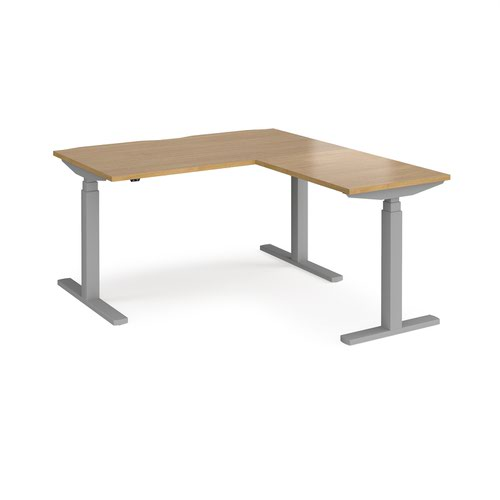 Elev8 Touch sit-stand desk 1400mm x 800mm with 800mm return desk - silver frame and oak top