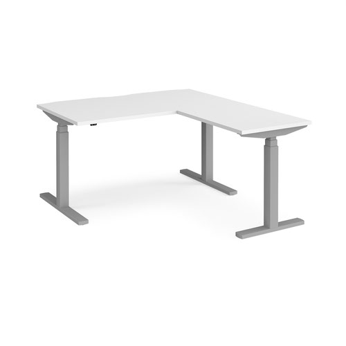 Elev8 Touch sit-stand desk 1400mm x 800mm with 800mm return desk - silver frame and white top