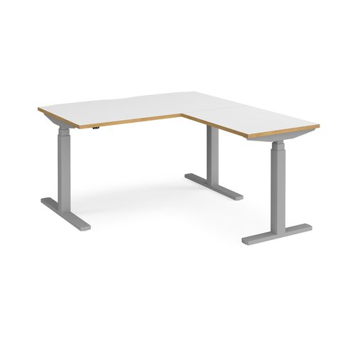 Elev8 Touch sit-stand desk 1400mm x 800mm with 800mm return desk - silver frame and white top with oak edge