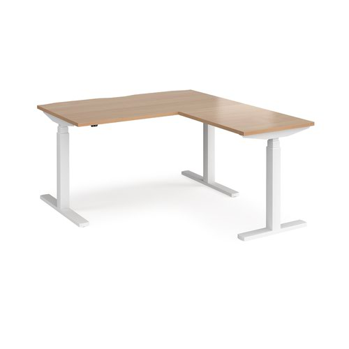 Elev8 Touch sit-stand desk 1400mm x 800mm with 800mm return desk - white frame and beech top