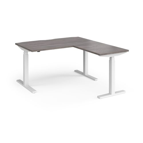 Elev8 Touch sit-stand desk 1400mm x 800mm with 800mm return desk - white frame and grey oak top