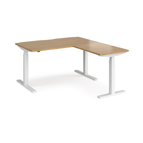 Elev8 Touch sit-stand desk 1400mm x 800mm with 800mm return desk - white frame and oak top
