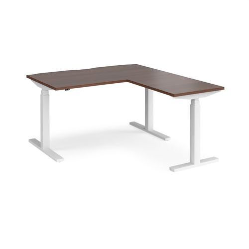 Elev8 Touch sit-stand desk 1400mm x 800mm with 800mm return desk - white frame and walnut top