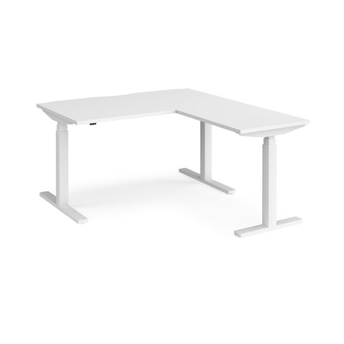 Elev8 Touch sit-stand desk 1400mm x 800mm with 800mm return desk - white frame and white top
