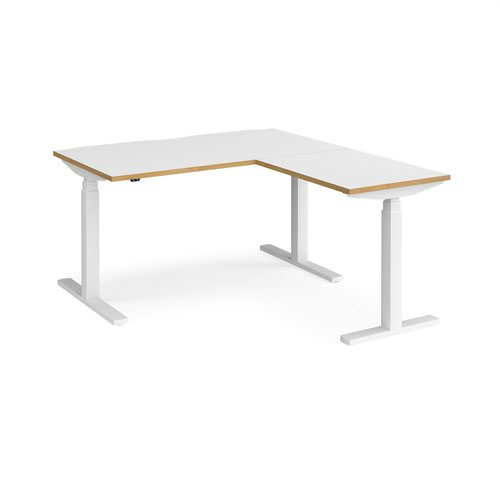 Elev8 Touch sit-stand desk 1400mm x 800mm with 800mm return desk - white frame and white top with oak edge