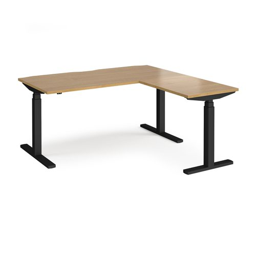 Elev8 Touch sit-stand desk 1600mm x 800mm with 800mm return desk - black frame and oak top