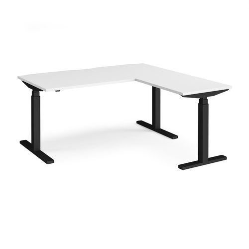 Elev8 Touch sit-stand desk 1600mm x 800mm with 800mm return desk - black frame and white top
