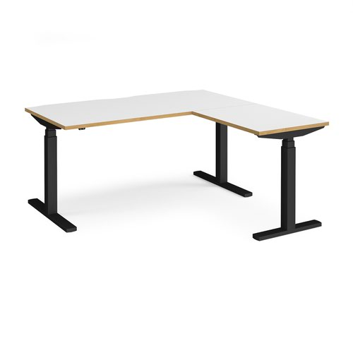 Elev8 Touch sit-stand desk 1600mm x 800mm with 800mm return desk - black frame and white top with oak edge