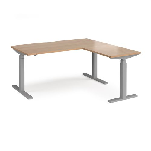 Elev8 Touch sit-stand desk 1600mm x 800mm with 800mm return desk - silver frame and beech top