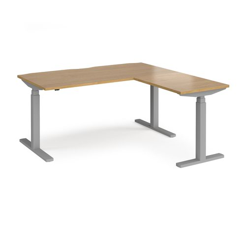 Elev8 Touch sit-stand desk 1600mm x 800mm with 800mm return desk - silver frame and oak top