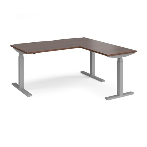 Elev8 Touch sit-stand desk 1600mm x 800mm with 800mm return desk - silver frame and walnut top