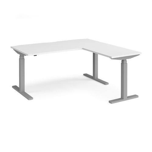 Elev8 Touch sit-stand desk 1600mm x 800mm with 800mm return desk - silver frame and white top