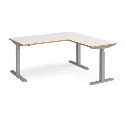 Elev8 Touch sit-stand desk 1600mm x 800mm with 800mm return desk - silver frame and white top with oak edge