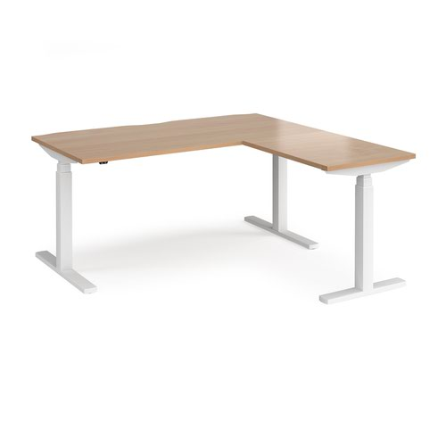 Elev8 Touch sit-stand desk 1600mm x 800mm with 800mm return desk - white frame and beech top