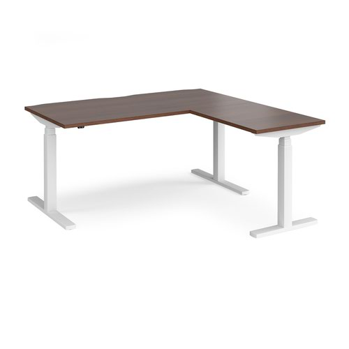 Elev8 Touch sit-stand desk 1600mm x 800mm with 800mm return desk - white frame and walnut top