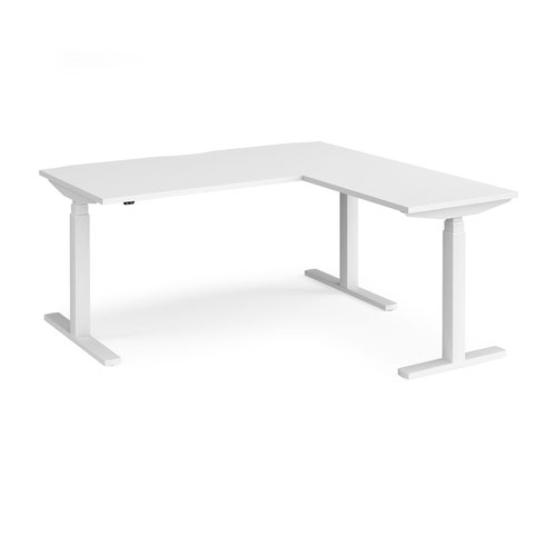 Elev8 Touch sit-stand desk 1600mm x 800mm with 800mm return desk - white frame and white top