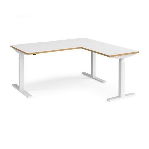 Elev8 Touch sit-stand desk 1600mm x 800mm with 800mm return desk - white frame and white top with oak edge
