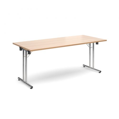 Rectangular Folding Leg Table 1800x800mm Chrome Legs/Beech Top SFL1800-C-B