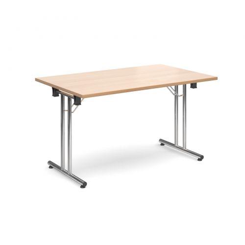Rectangular Folding Leg Table 1400x800mm Chrome Legs/Beech Top SFL1400-C-B