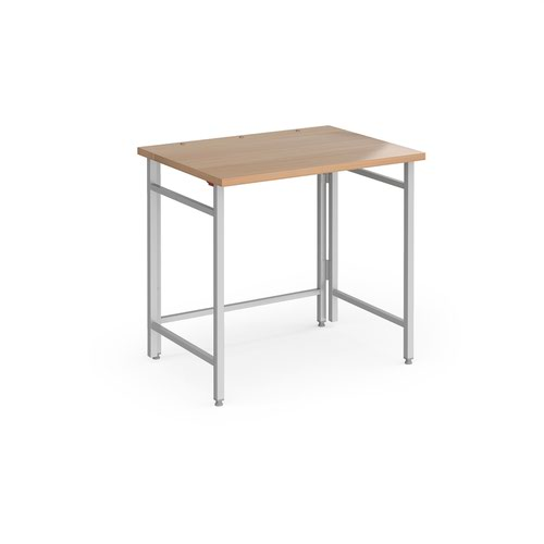 Fuji home office workstation 800mm x 600mm with folding legs – Beech with silver frame