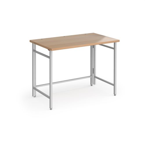 Fuji home office workstation 1000mm x 600mm with folding legs – Beech with silver frame