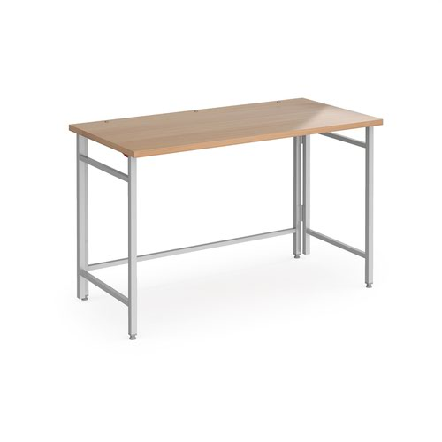 Fuji home office workstation 1200mm x 600mm with folding legs – Beech with silver frame
