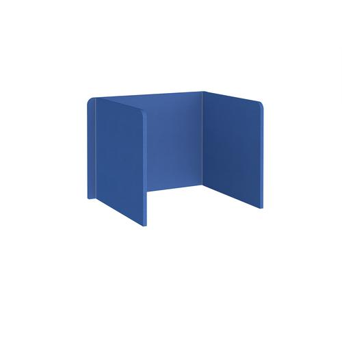 Free-standing 3-sided 700mm high fabric desktop screen 1000mm wide - galilee blue