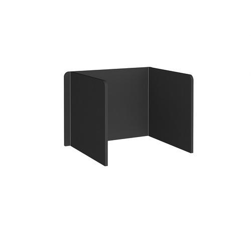 Free-standing 3-sided 700mm high fabric desktop screen 1000mm wide - black