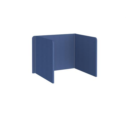 Free-standing 3-sided 700mm high fabric desktop screen 1000mm wide - adriatic blue