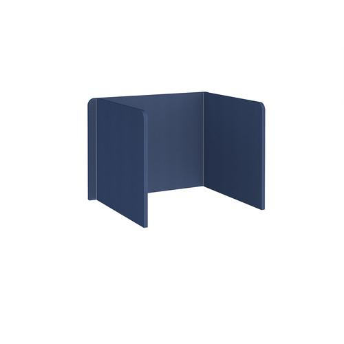 Free-standing 3-sided 700mm high fabric desktop screen 1000mm wide - cluanie blue
