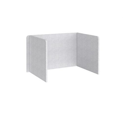 Free-standing 3-sided 700mm high fabric desktop screen 1200mm wide - glass grey