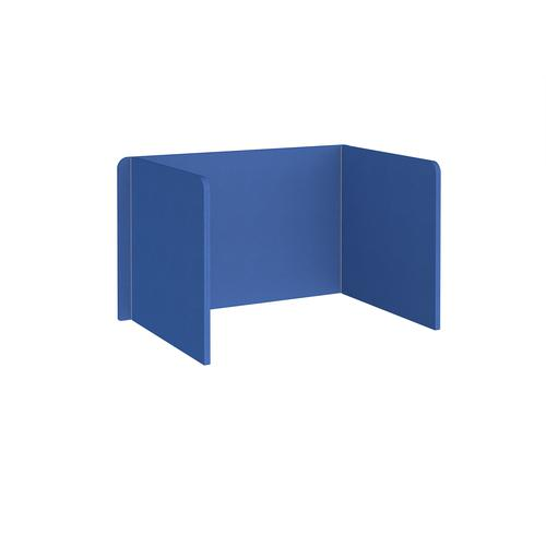Free-standing 3-sided 700mm high fabric desktop screen 1200mm wide - galilee blue